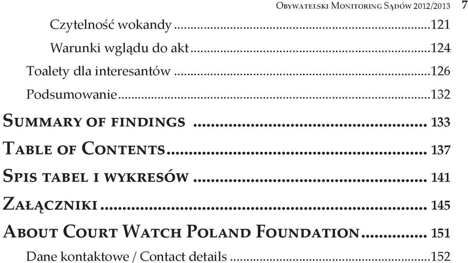 ..132 Summary of findings... 133 Table of Contents... 137 Spis tabel i wykresów.