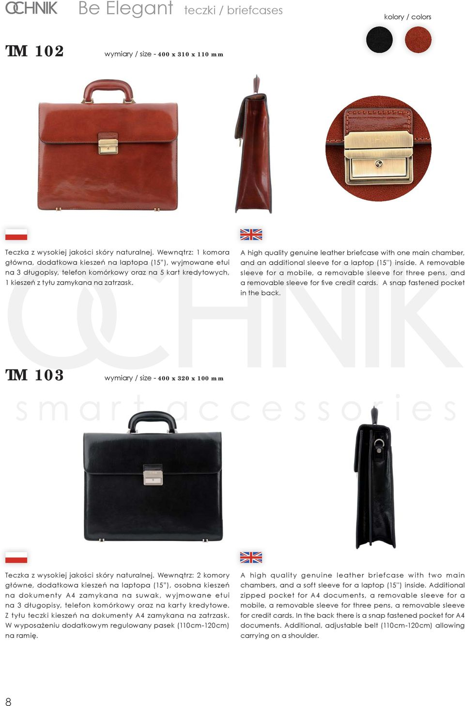 A high quality genuine leather briefcase with one main chamber, and an additional sleeve for a laptop (15'') inside.