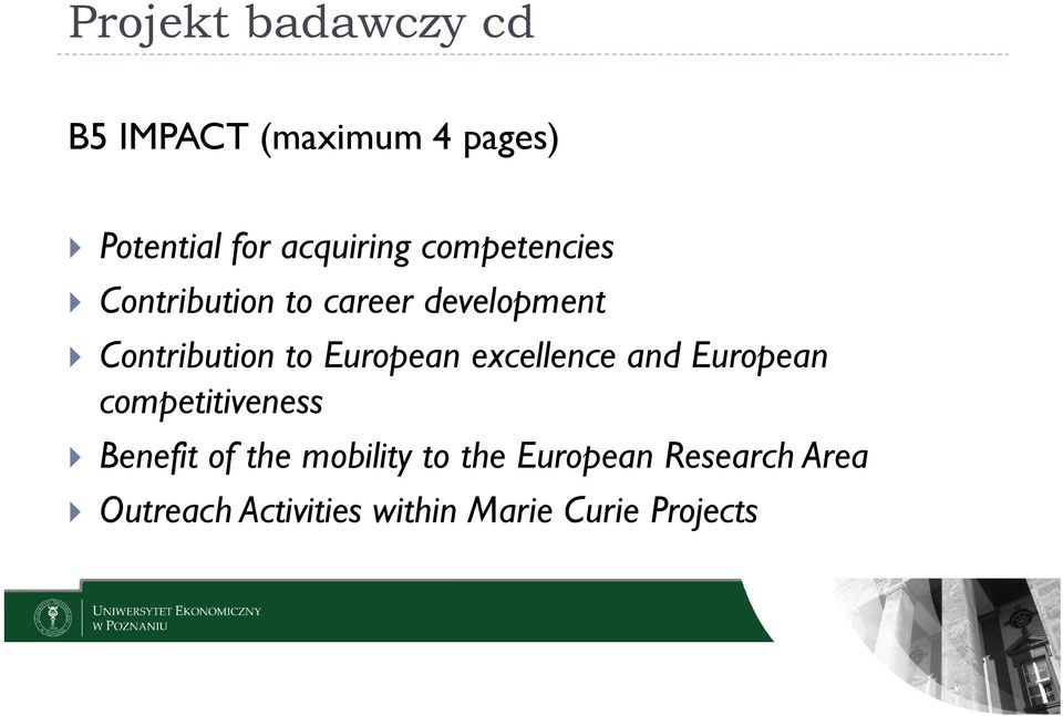 European excellence and European competitiveness Benefit of the