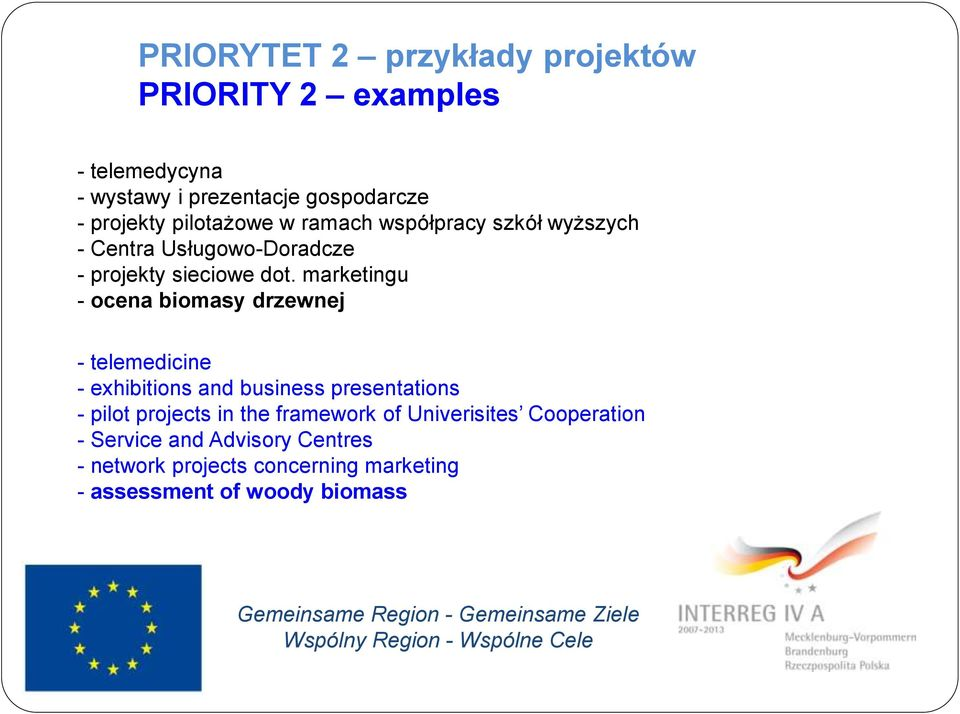 marketingu - ocena biomasy drzewnej - telemedicine - exhibitions and business presentations - pilot projects in the