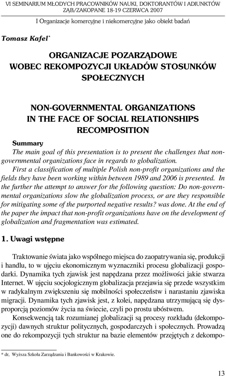 challenges that nongovernmental organizations face in regards to globalization.