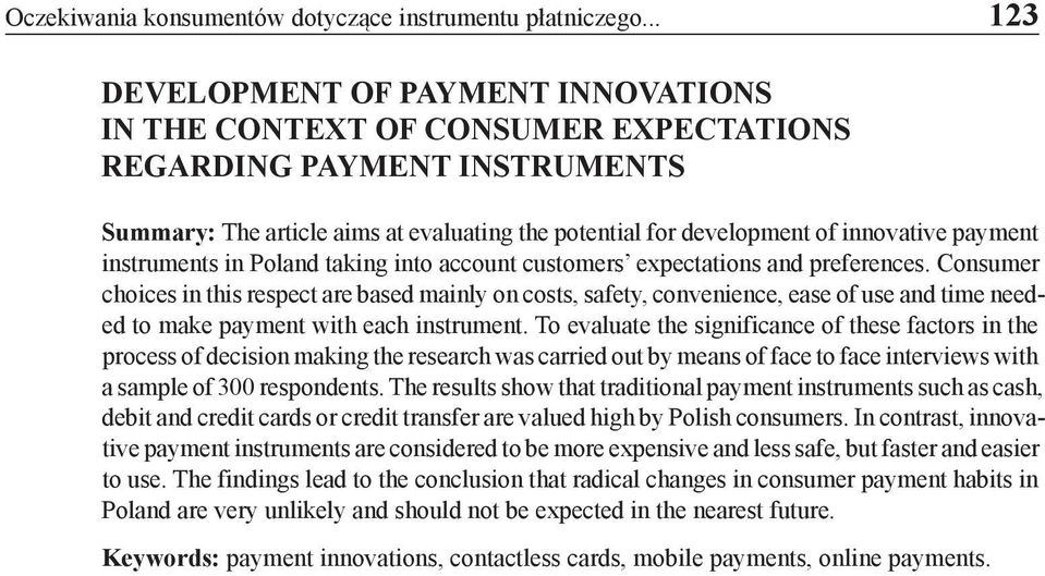 payment instruments in Poland taking into account customers expectations and preferences.