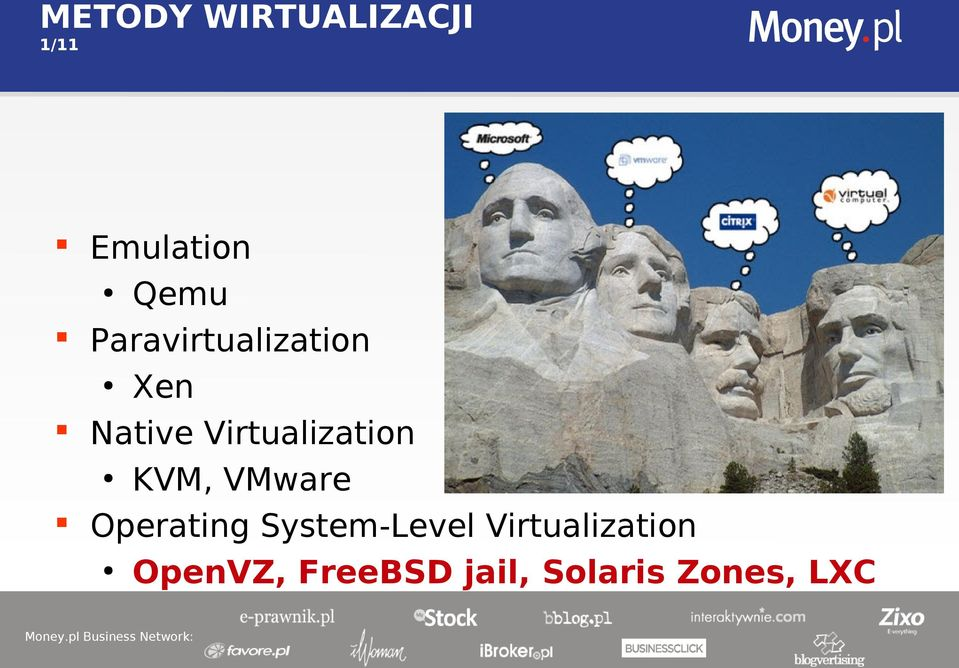 Virtualization KVM, VMware Operating