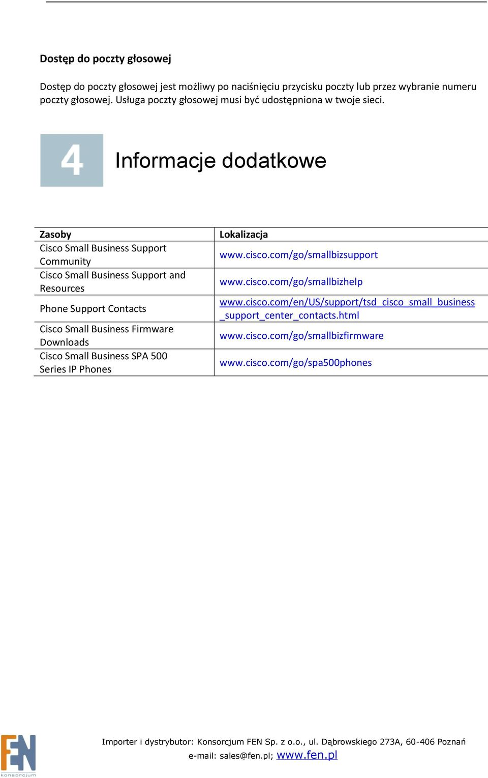 Informacje dodatkowe Zasoby Cisco Small Business Support Community Cisco Small Business Support and Resources Phone Support Contacts Cisco Small Business