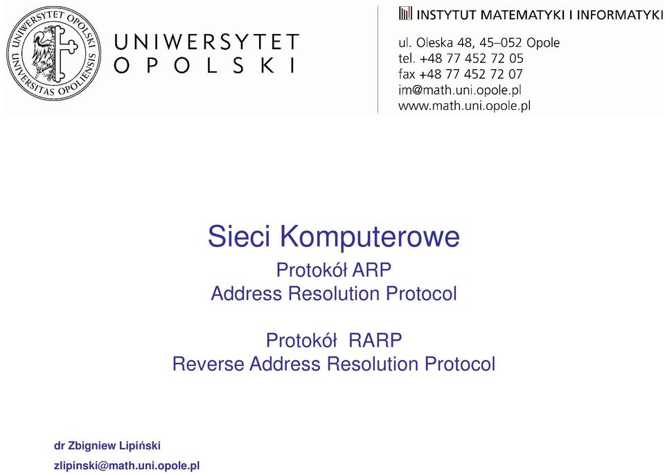 Reverse Address Resolution Protocol dr
