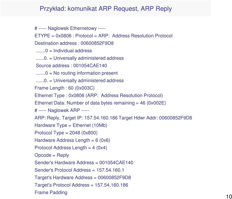 (ARP: Address Resolution Protocol) Ethernet Data: Number of data bytes remaining = 46 (0x002E) # ----- Naglowek ARP ----- ARP: Reply, Target IP: 157.54.160.
