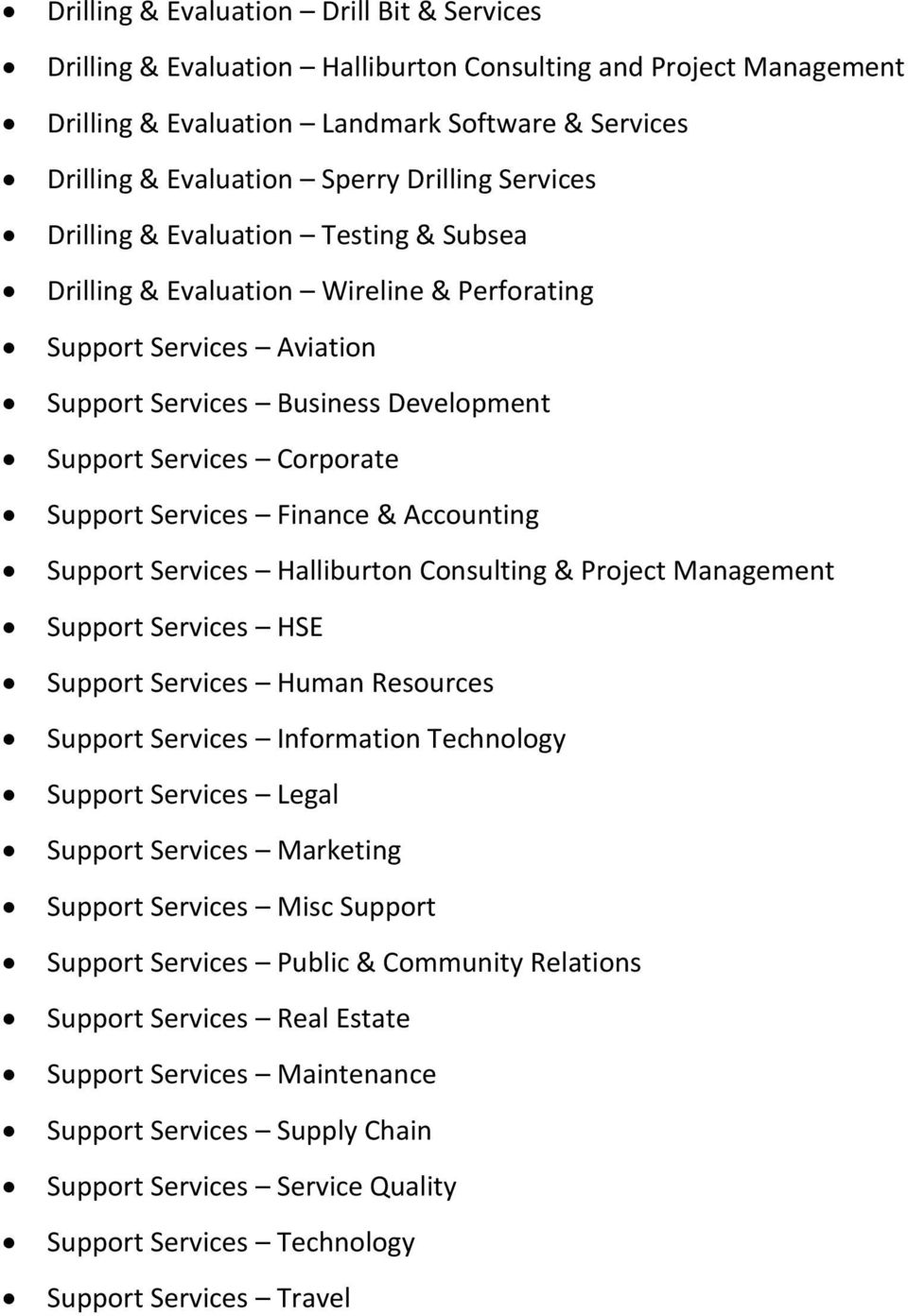 Services Finance & Accounting Support Services Halliburton Consulting & Project Management Support Services HSE Support Services Human Resources Support Services Information Technology Support
