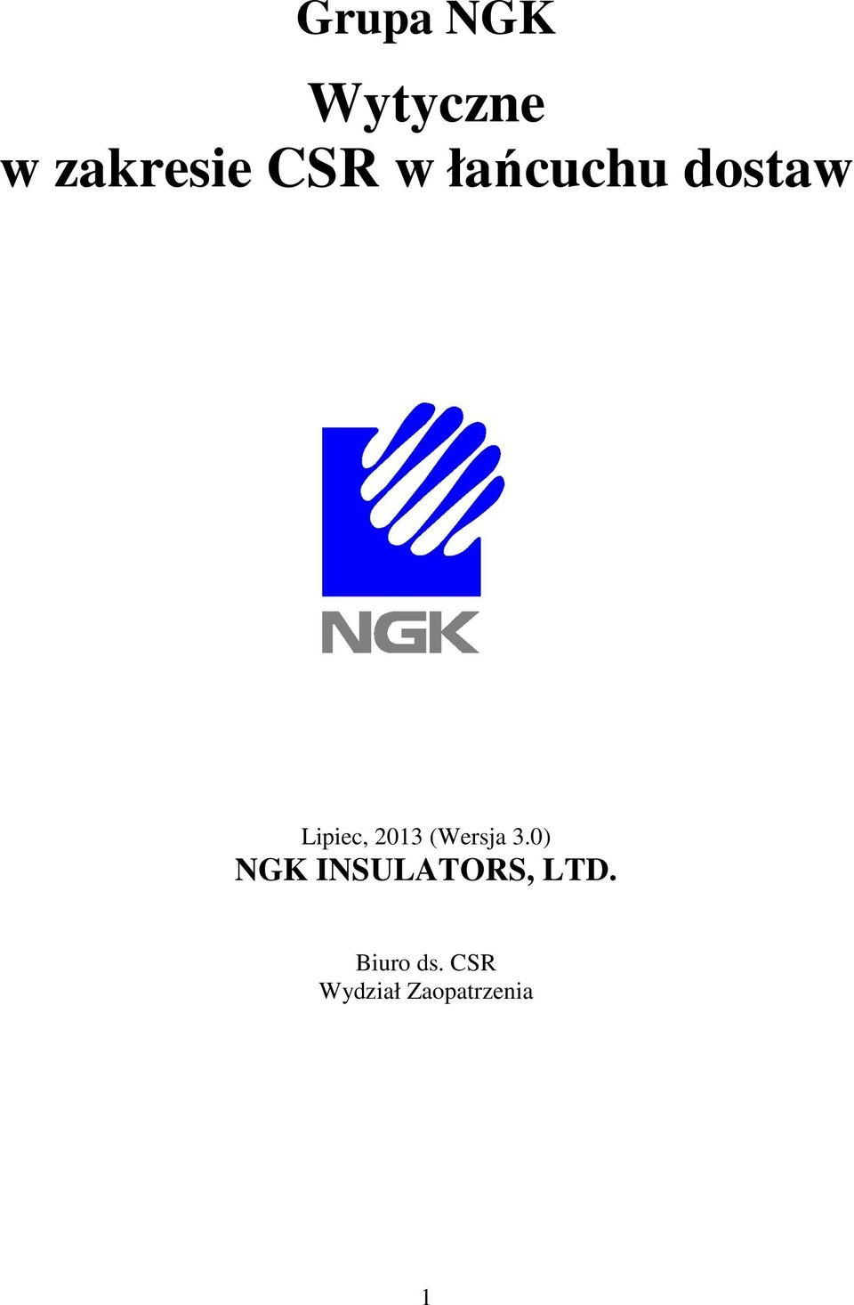 (Wersja 3.0) NGK INSULATORS, LTD.