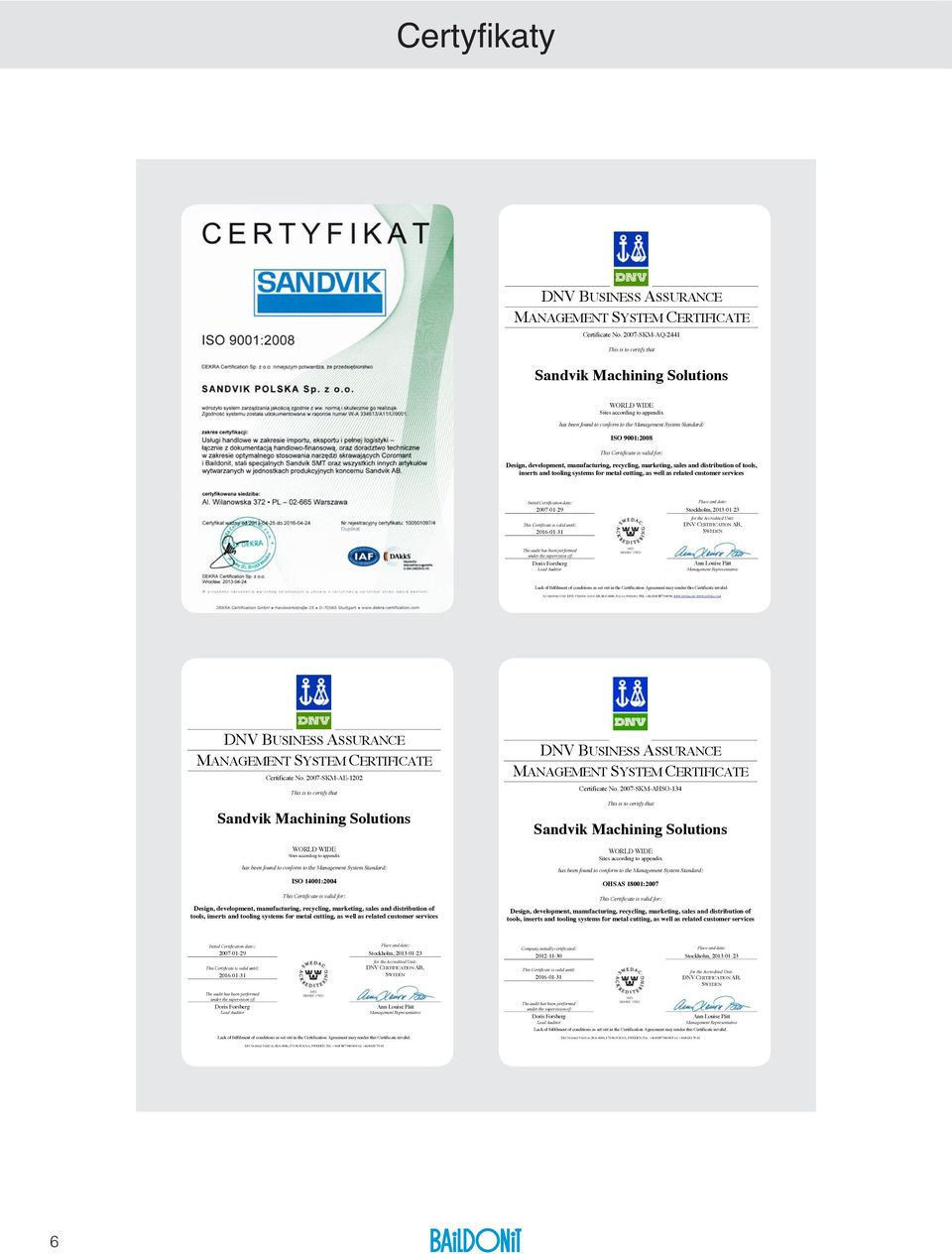 Design, deveopent, anufacturing, recycing, arketing, saes and distriution of toos, inserts and tooing systes for eta cutting, as we as reated custoer services Initia Certification date: 2007029 Tis