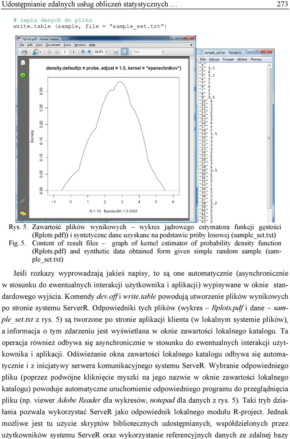 Content of result files graph of kernel estimator of probability density function (Rplots.pdf) and synthetic data obtained form given simple random sample (sample_set.