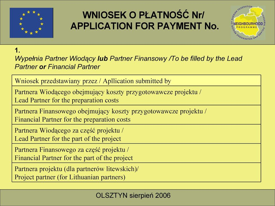 przygotowawcze projektu / Financial Partner for the preparation costs Partnera Wiodącego za część projektu / Lead Partner for the part of the project
