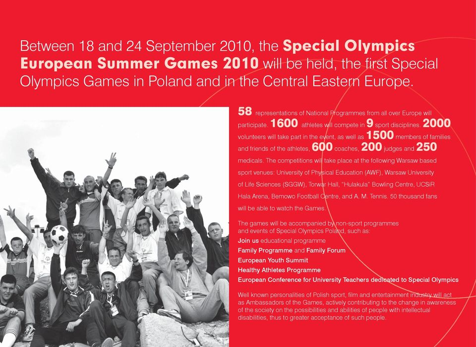 2000 volunteers will take part in the event, as well as 1500 members of families and friends of the athletes, 600 coaches, 200 judges and 250 medicals.