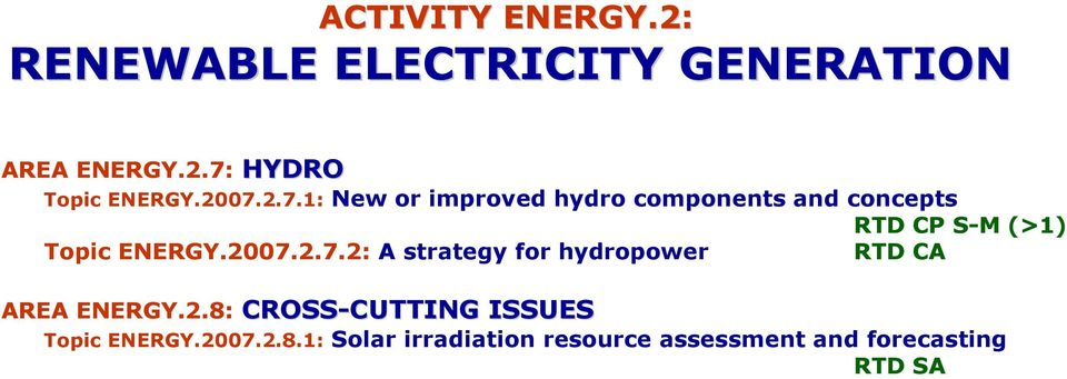 2007.2.7.2: A strategy for hydropower RTD CA AREA ENERGY.2.8: CROSS-CUTTING CUTTING ISSUES Topic ENERGY.