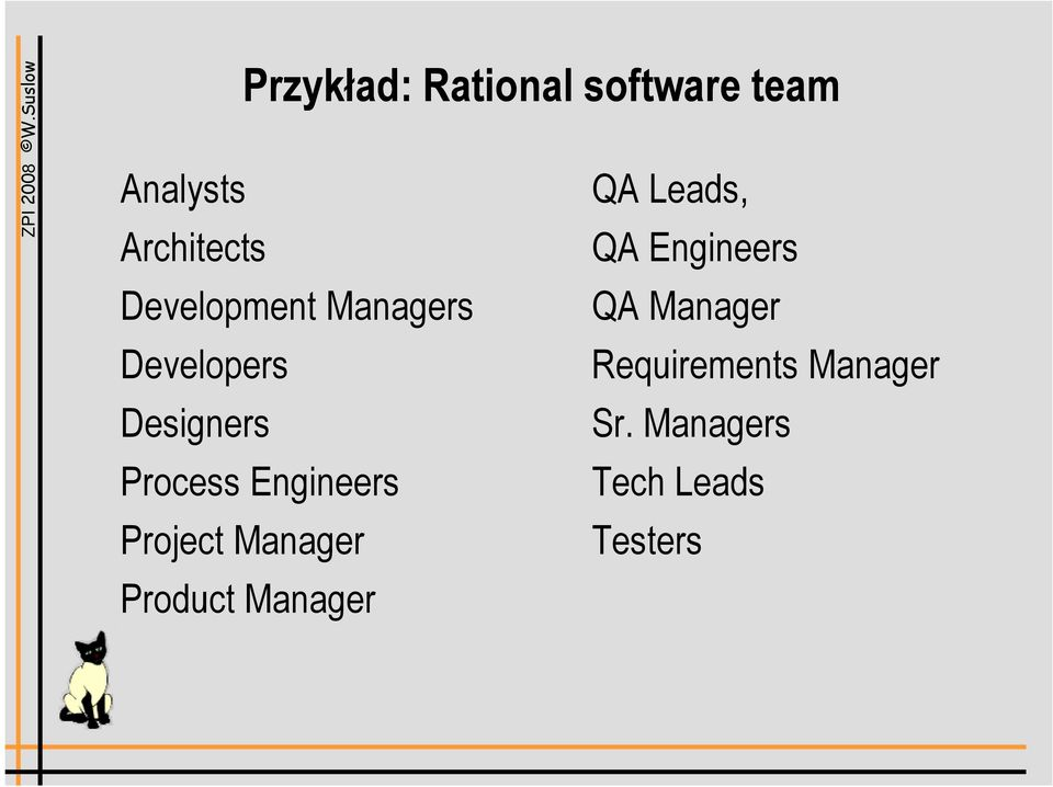 Engineers Project Manager Product Manager QA Leads, QA