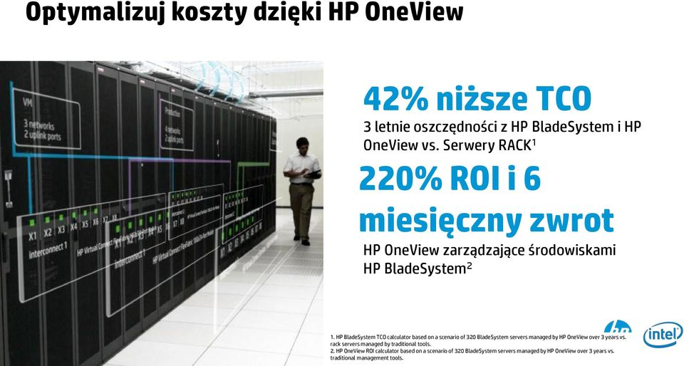 HP BladeSystem TCO calculator based on a scenario of 320 BladeSystem servers managed by HP OneView over 3 years vs.