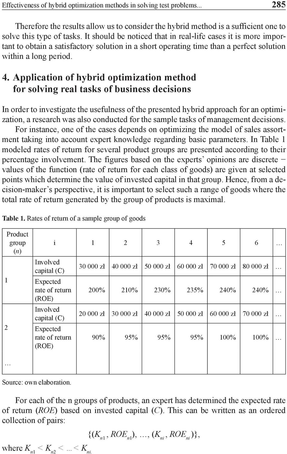 Application of hybrid optimization method for solving real tasks of business decisions In order to investigate the usefulness of the presented hybrid approach for an optimization, a research was also