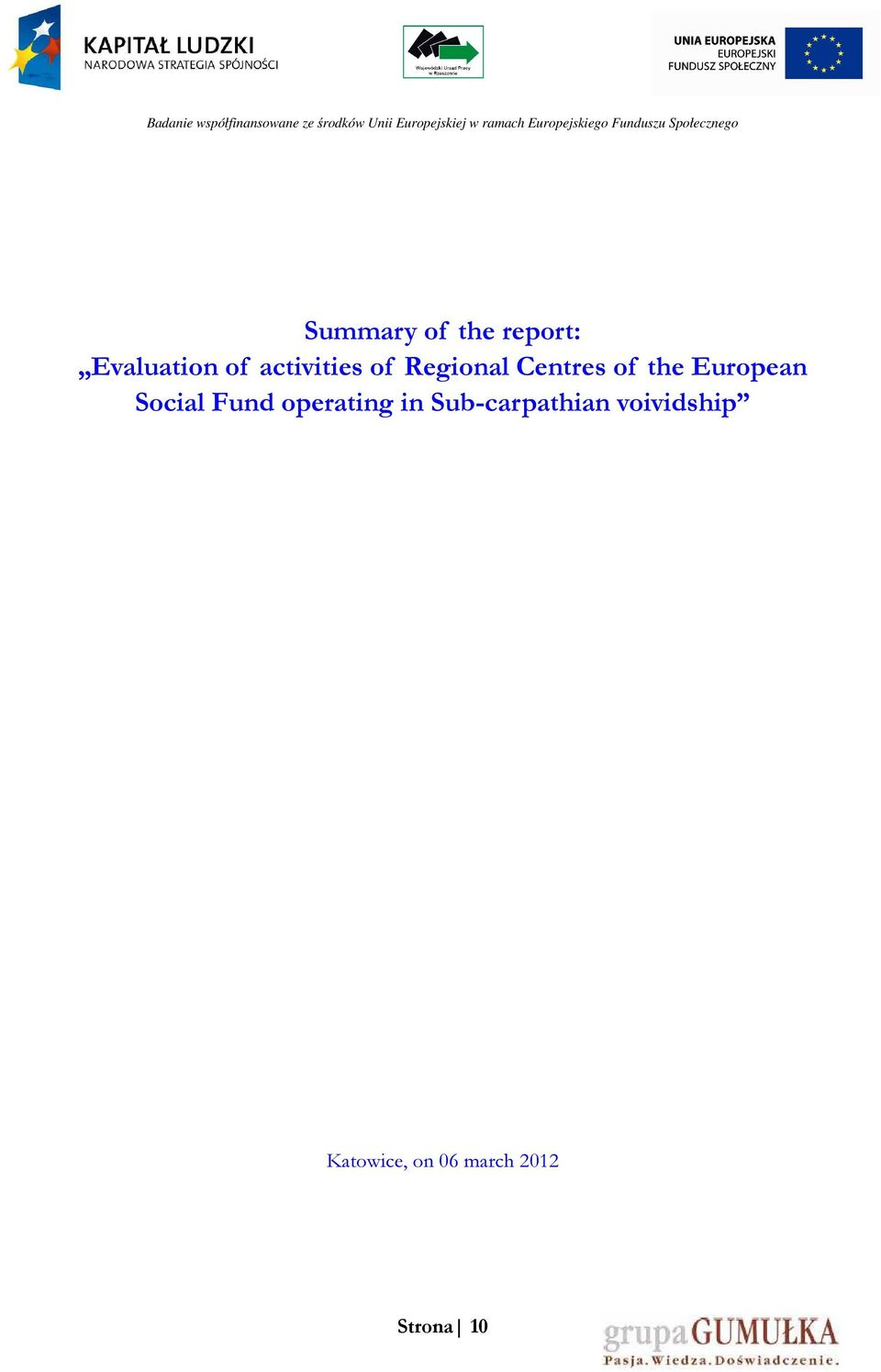 European Social Fund operating in