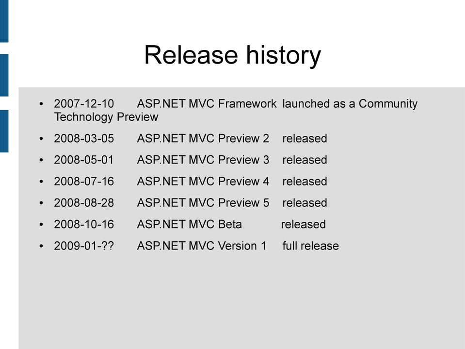NET MVC Preview 2 released 2008-05-01 ASP.NET MVC Preview 3 released 2008-07-16 ASP.
