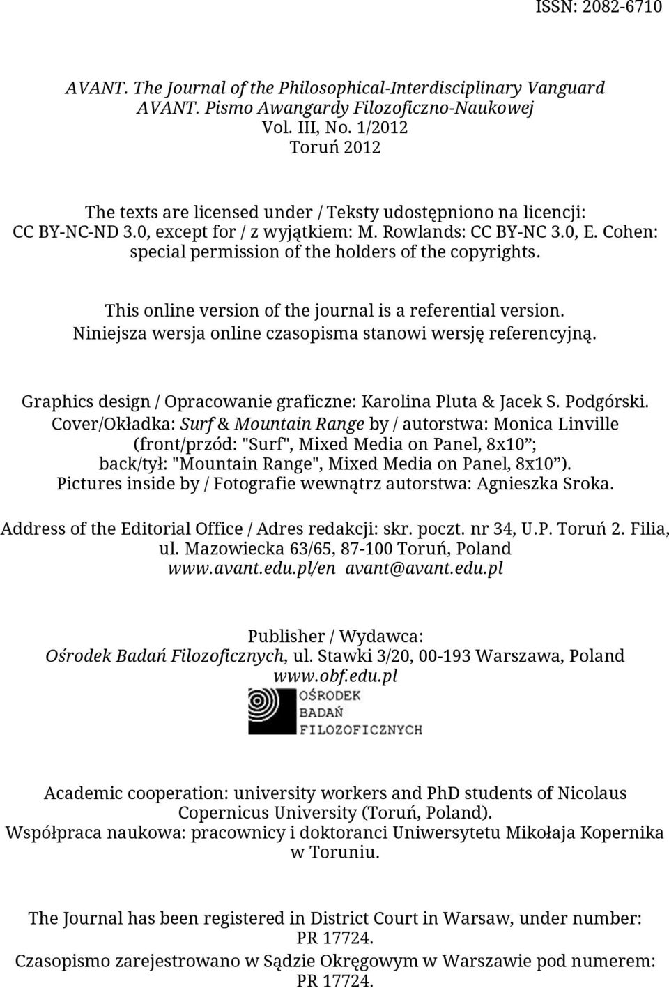 Cohen: special permission of the holders of the copyrights. This online version of the journal is a referential version. Niniejsza wersja online czasopisma stanowi wersję referencyjną.
