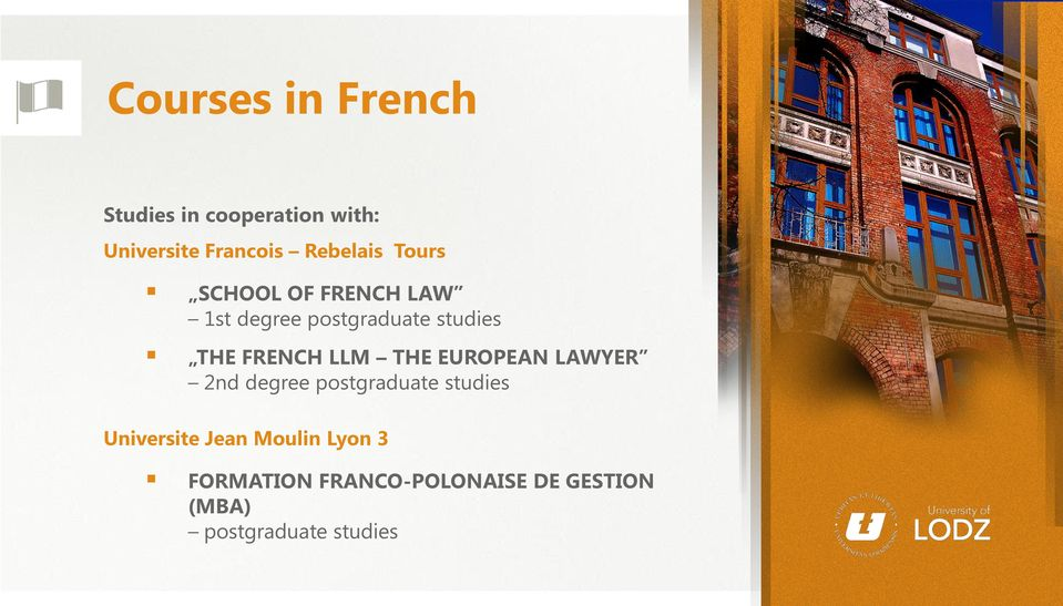 FRENCH LLM THE EUROPEAN LAWYER 2nd degree postgraduate studies Universite