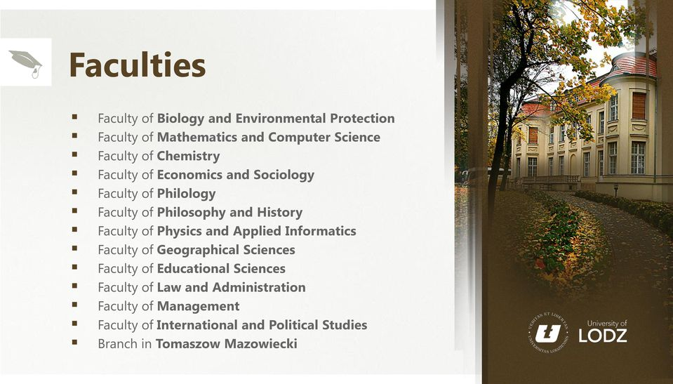 Physics and Applied Informatics Faculty of Geographical Sciences Faculty of Educational Sciences Faculty of Law