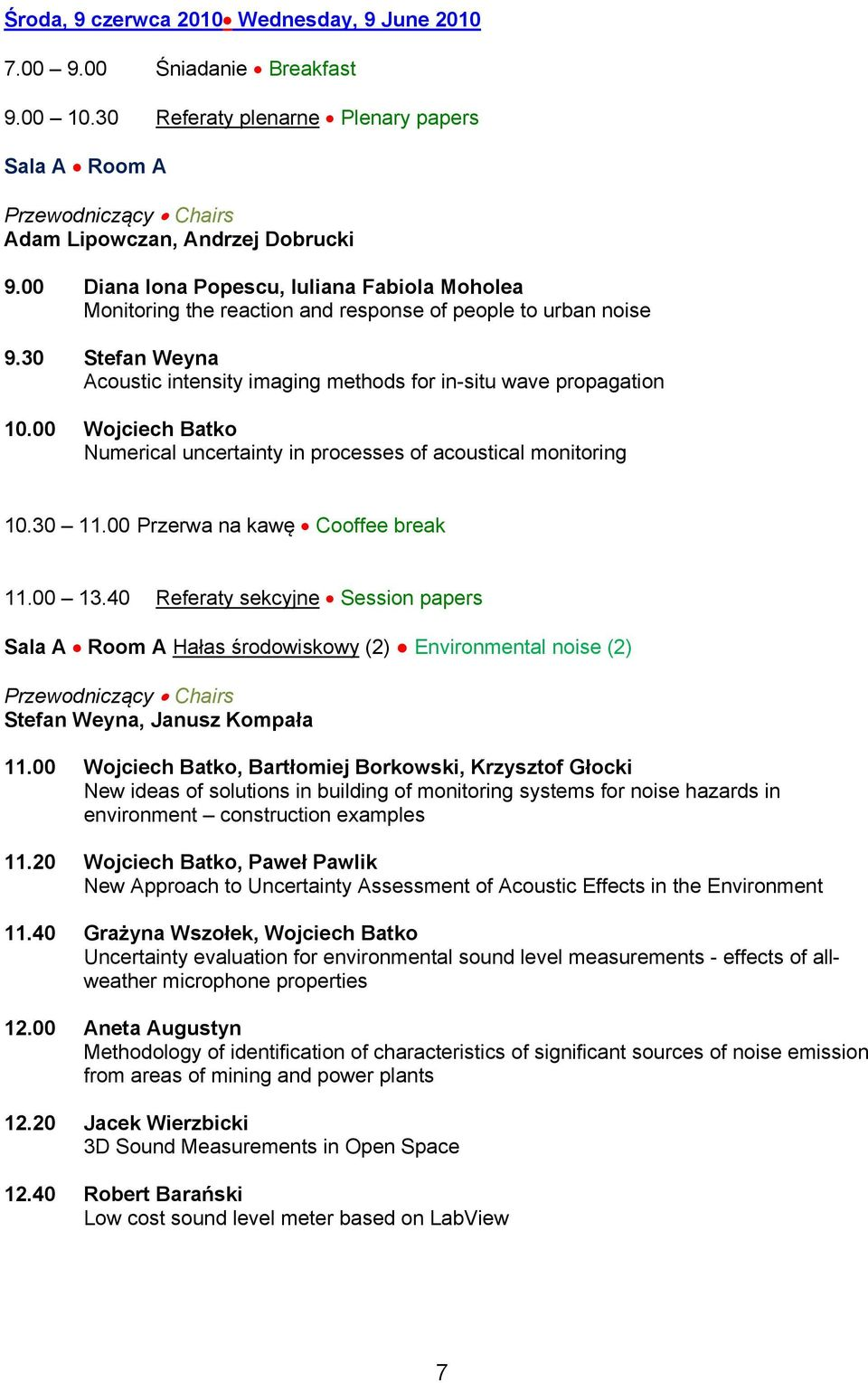 00 Wojciech Batko Numerical uncertainty in processes of acoustical monitoring 10.30 11.00 Przerwa na kawę Cooffee break 11.00 13.