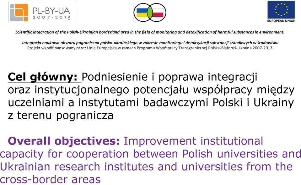 pogranicza Overall objectives: Improvement institutional capacity for cooperation