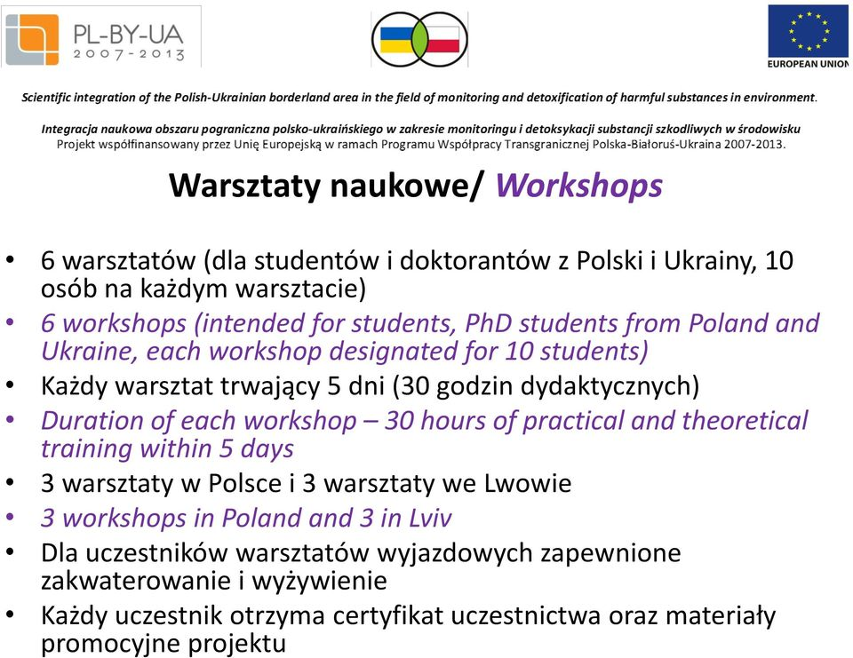 of each workshop 30 hours of practical and theoretical training within 5 days 3 warsztaty w Polsce i 3 warsztaty we Lwowie 3 workshops in Poland and 3 in