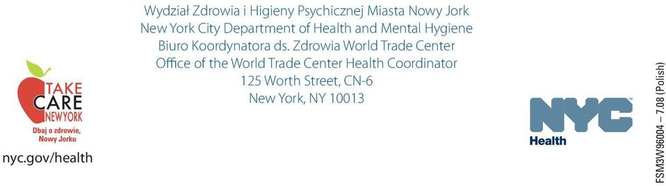 ds. Zdrowia World Trade Center Office of the World Trade Center Health