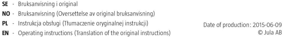 oryginalnej instrukcji) EN - Operating instructions (Translation