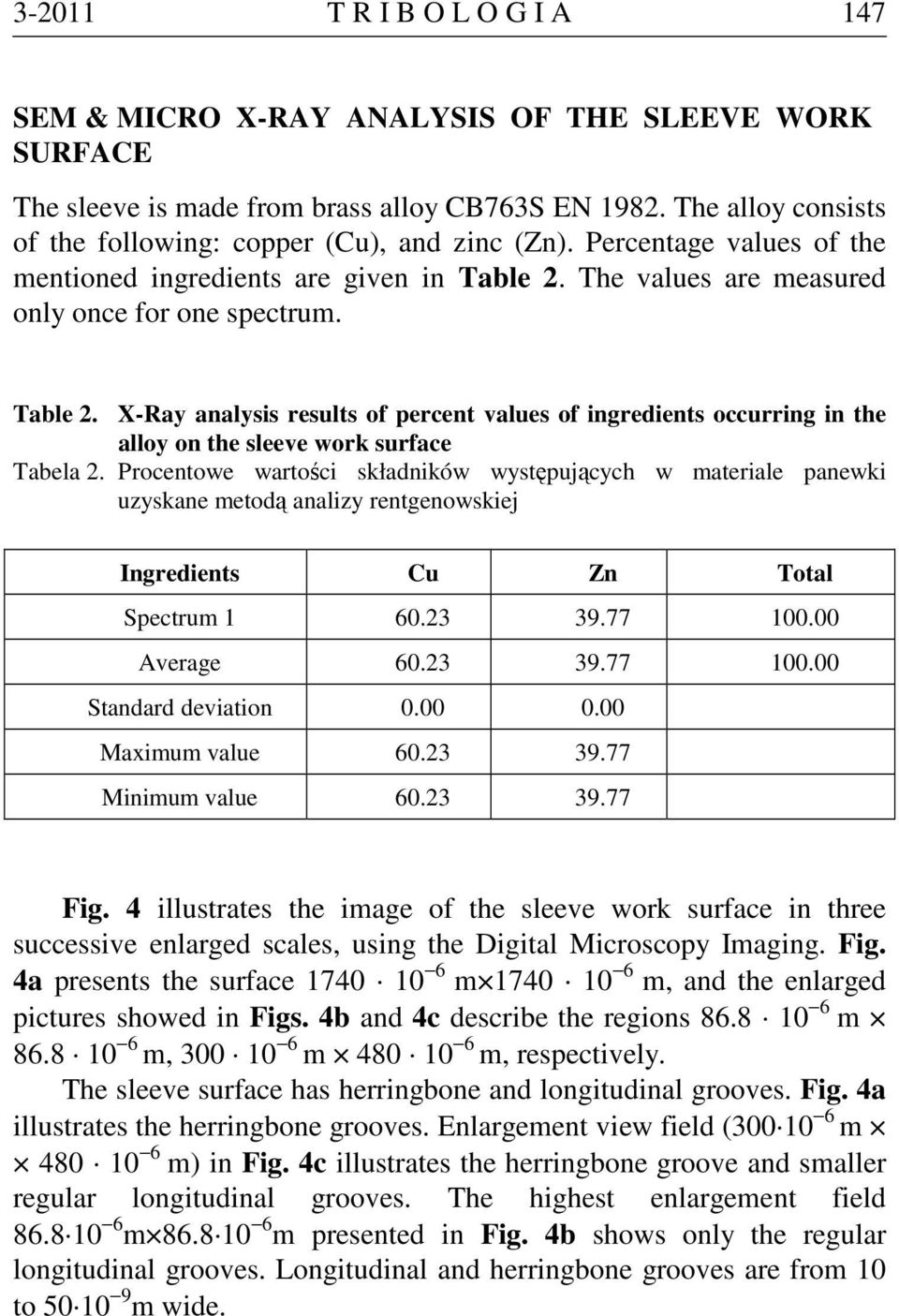 The values are measured only once for one spectrum. Table 2. X-Ray analysis results of percent values of ingredients occurring in the alloy on the sleeve work surface Tabela 2.