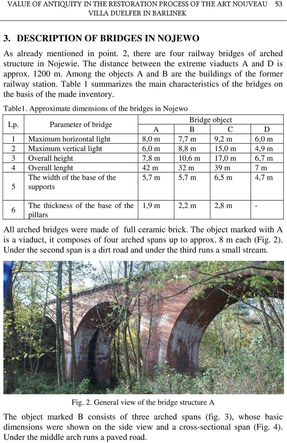 Among the objects A and B are the buildings of the former railway station. Table 1 summarizes the main characteristics of the bridges on the basis of the made inventory. Table1.