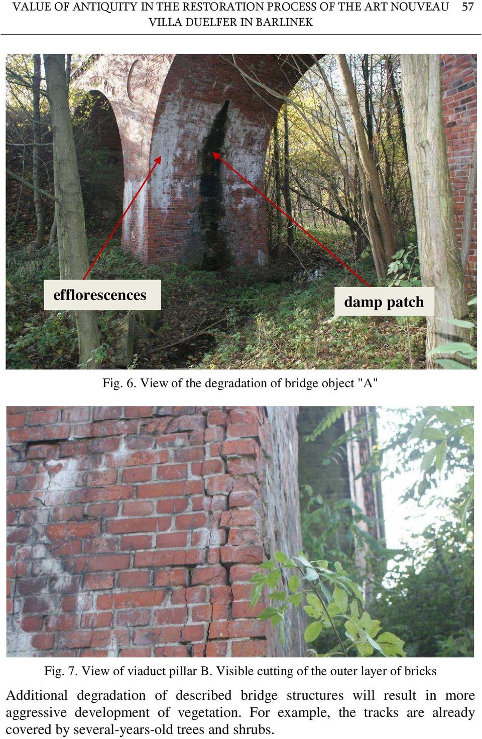 Visible cutting of the outer layer of bricks Additional degradation of described bridge structures will result