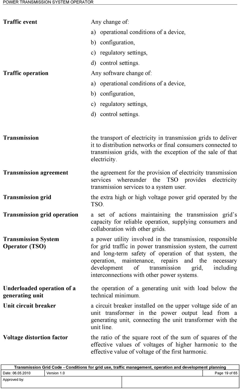 Transmission Transmission agreement Transmission grid Transmission grid operation Transmission System Operator (TSO) Underloaded operation of a generating unit Unit circuit breaker Voltage distortion