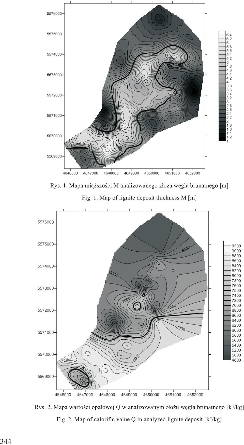 Map of lignite deposit thickness M [m] Rys. 2.