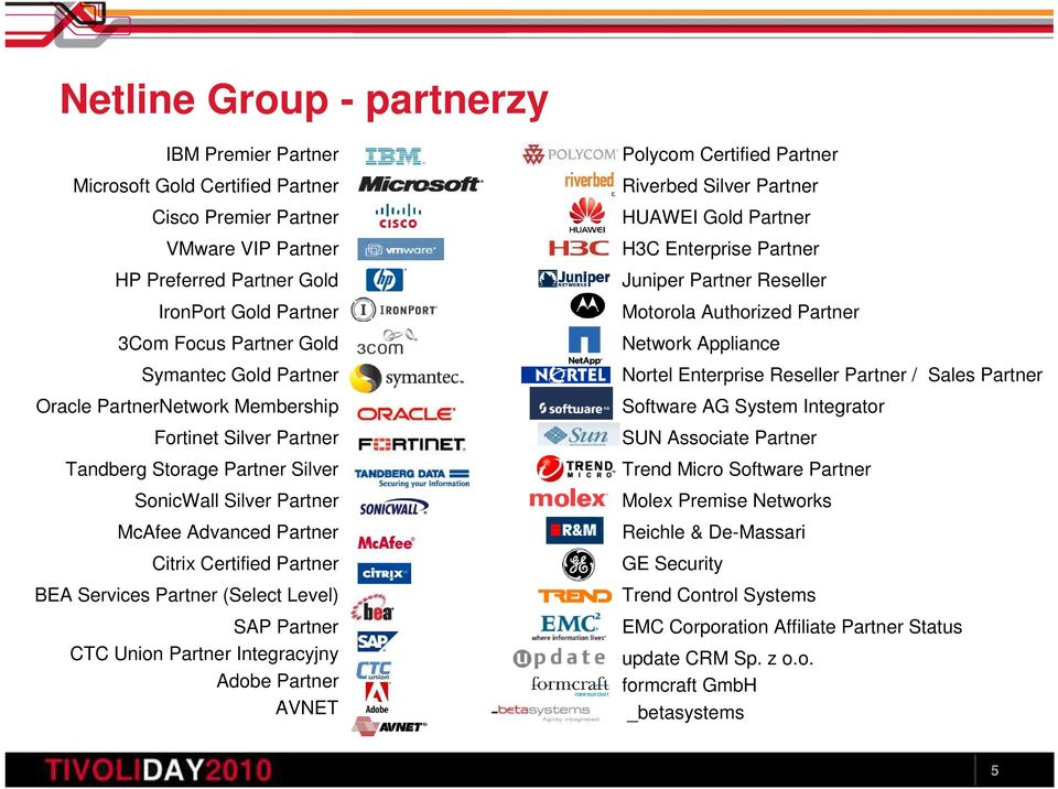 Partner (Select Level) SAP Partner CTC Union Partner Integracyjny Adobe Partner AVNET Polycom Certified Partner Riverbed Silver Partner HUAWEI Gold Partner H3C Enterprise Partner Juniper Partner
