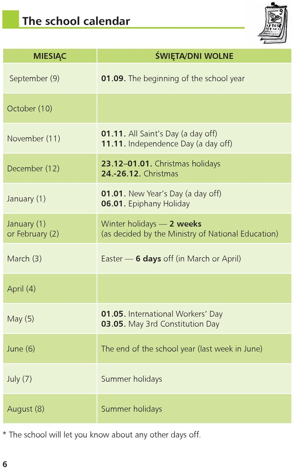 01. Christmas holidays 24.-26.12. Christmas 01.01. New Year s Day (a day off) 06.01. Epiphany Holiday Winter holidays 2 weeks (as decided by the Ministry of National Education) March (3) Easter 6 days off (in March or April) April (4) May (5) 01.