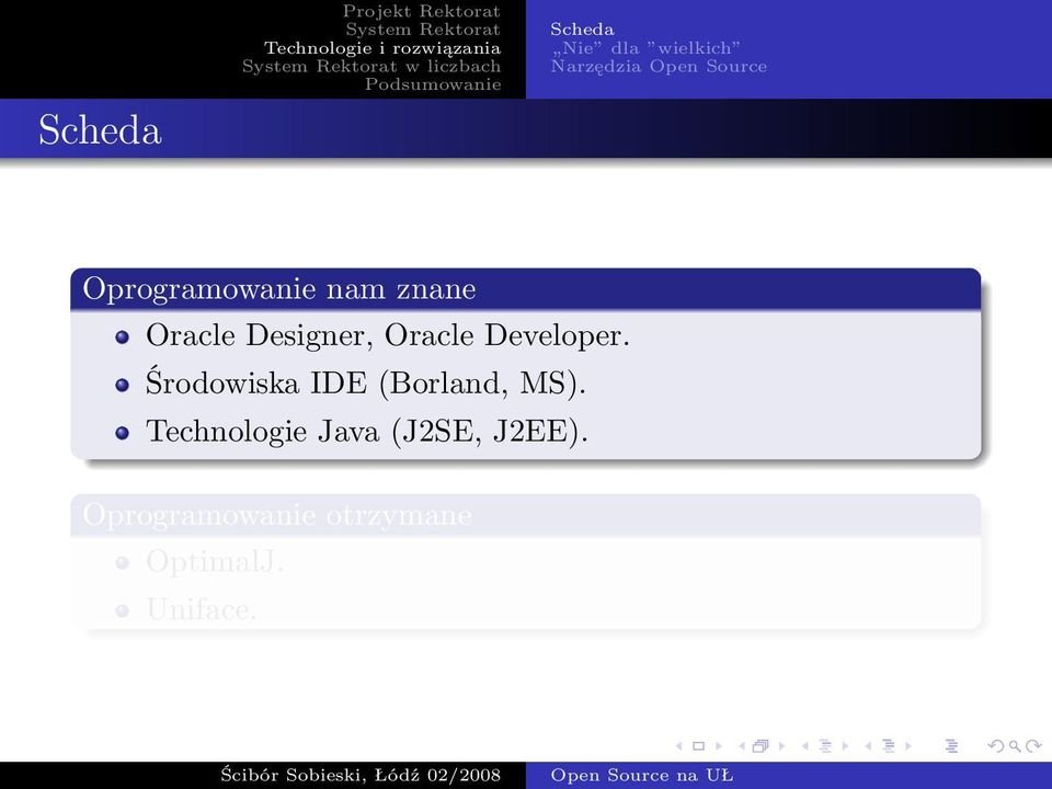 Oracle Developer. Środowiska IDE (Borland, MS).
