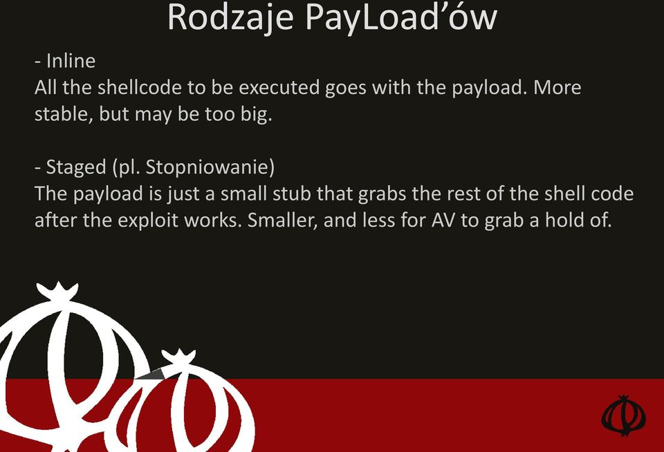Stopniowanie) The payload is just a small stub that grabs the rest of