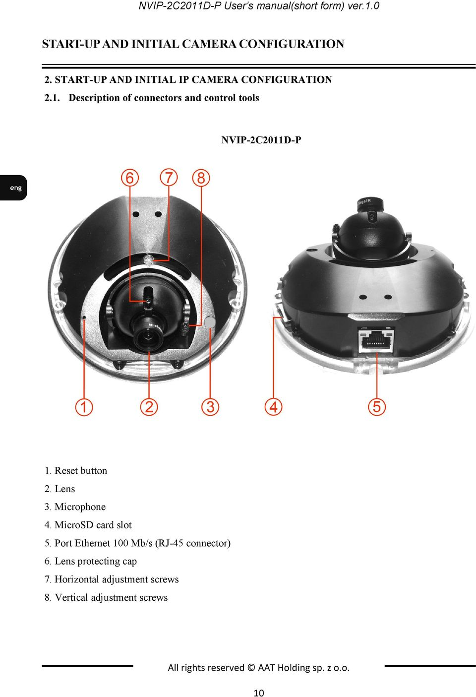 Description of connectors and control tools NVIP-2C2011D-P 1. Reset button 2. Lens 3. Microphone 4.