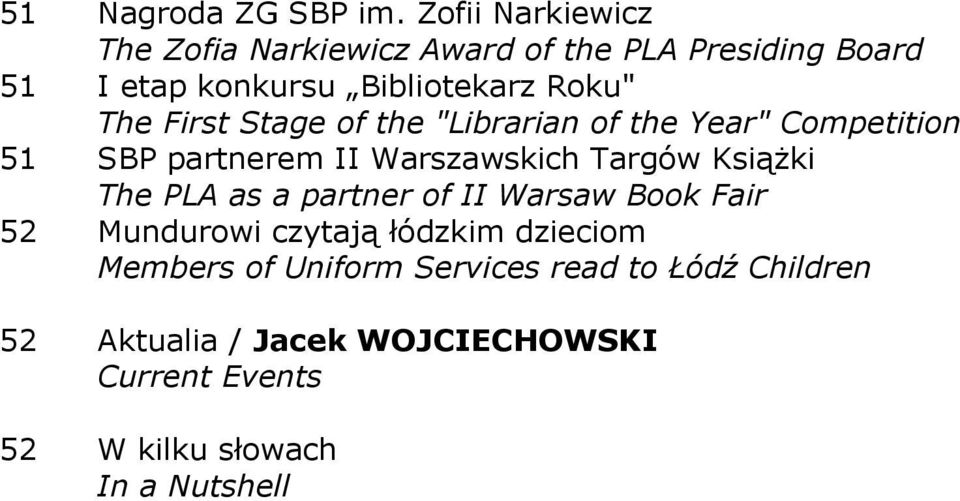 "First Stage of the ""Librarian of the Year"" Competition 51 SBP partnerem II Warszawskich Targów KsiąŜki The PLA"