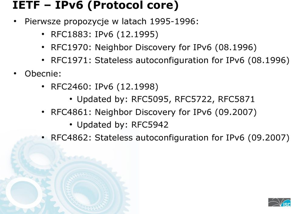 1996) RFC1971: Stateless autoconfiguration for IPv6 (08.1996) Obecnie: RFC2460: IPv6 (12.