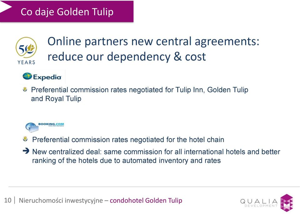centralized deal: same commission for all international hotels and better ranking of the