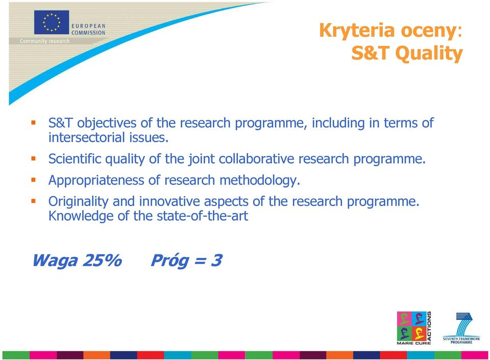 Scientific quality of the joint collaborative research programme.