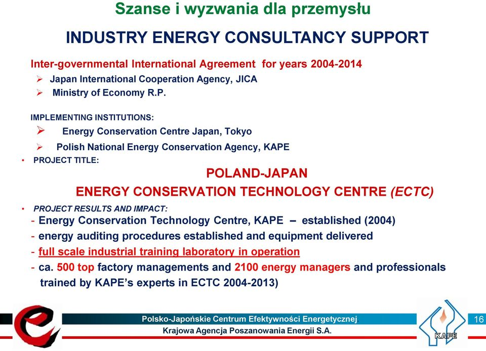IMPLEMENTING INSTITUTIONS: Energy Conservation Centre Japan, Tokyo Polish National Energy Conservation Agency, KAPE PROJECT TITLE: POLAND-JAPAN ENERGY CONSERVATION TECHNOLOGY CENTRE