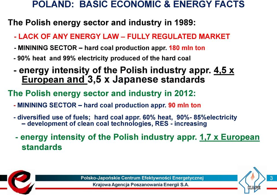 4,5 x European and 3,5 x Japanese standards The Polish energy sector and industry in 2012: - MININING SECTOR hard coal production appr.