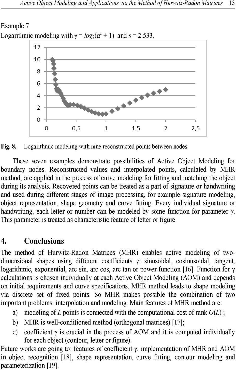 Reconstrcted vales and interpolated points, calclated b MHR method, are applied in the process of crve modeling for fitting and matching the object dring its analsis.