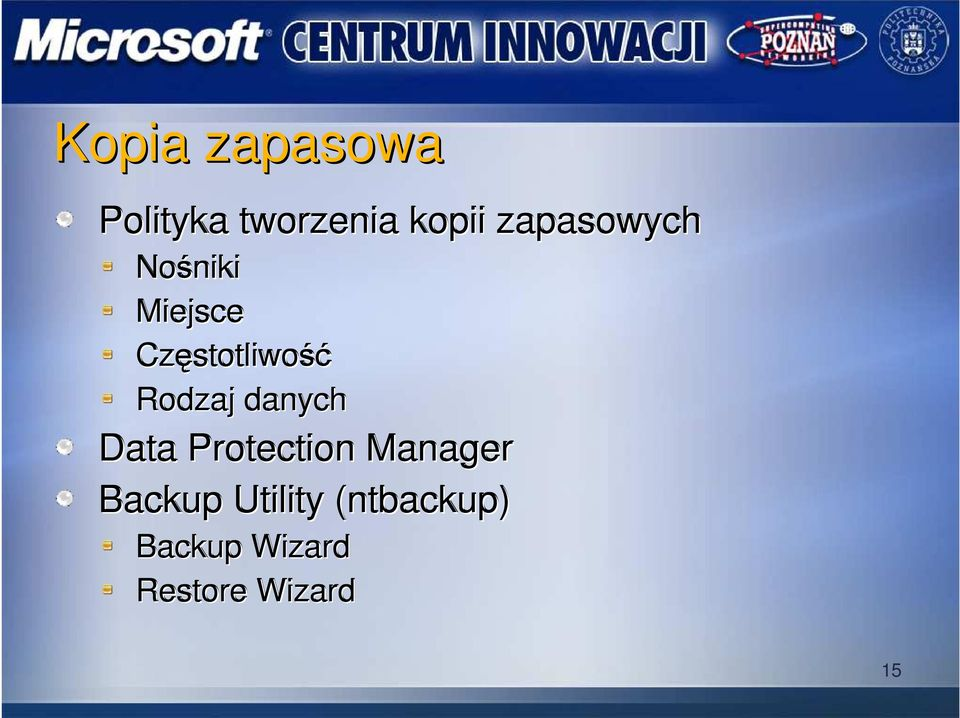 Rodzaj danych Data Protection Manager