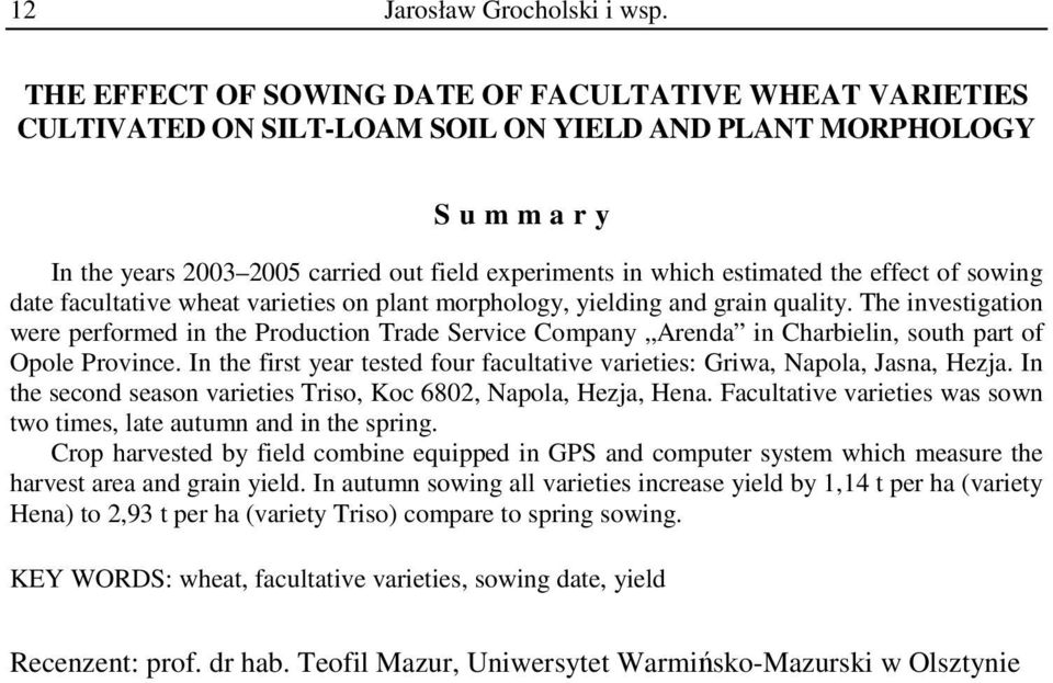 effect of sowing date facultative wheat varieties on plant morphology, yielding and grain quality.