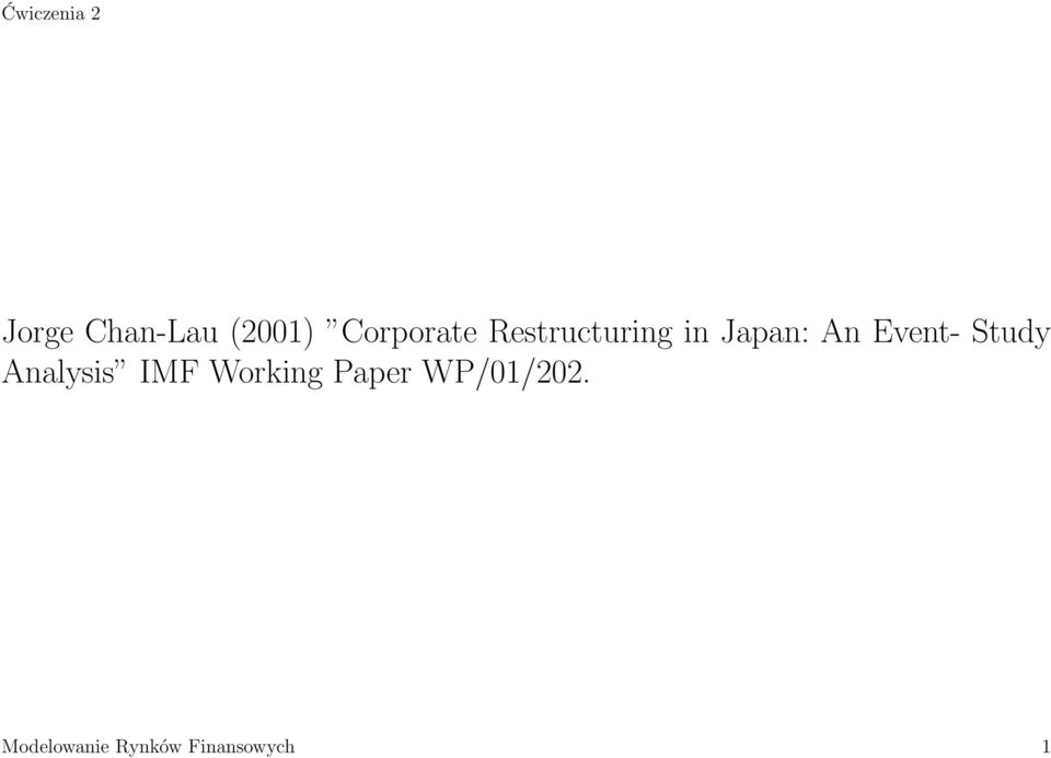 Study Analysis IMF Working Paper